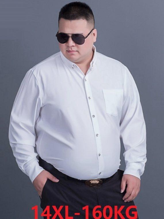 เสื้อเชิ้ตผู้ชาย ไซส์ใหญ่ เสื้อเชิ้ตผู้ชายอ้วน เสื้อเชิ้ตคนอ้วนชาย เสื้อผ้าไซส์ใหญ่ แบรนด์นอก ผู้ชาย เสื้อเชิ้ต สีขาว สีพื้น ผู้ชาย แขนยาว เสื้อผ้าคนอ้วน