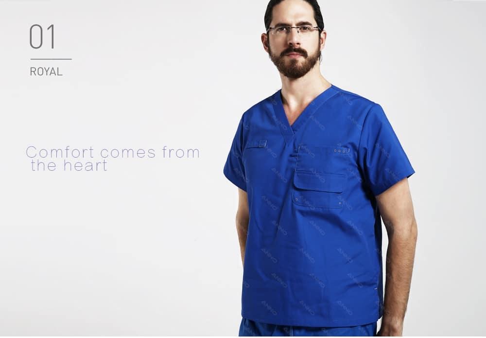 ANNO Multiple Pockets Scrubs Set Work Wear Hospital Classic Form Foctor Woman Man Nursing Uniform Dental Clothing