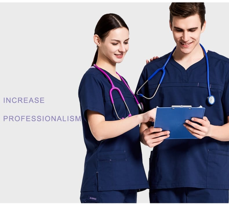 ANNO Nursing Uniforms Elastic Spandex Clinics Suit Female Male Scrubs Hospital Clothing Breathable Cloth Heathy Beauty Wear