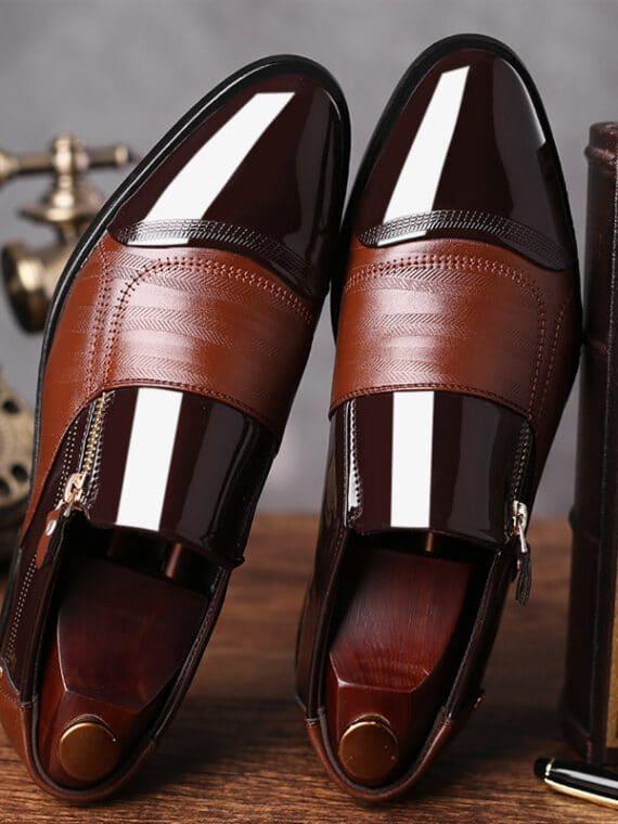 รองเท้าสลิปออนผู้ชาย หนังเงา
