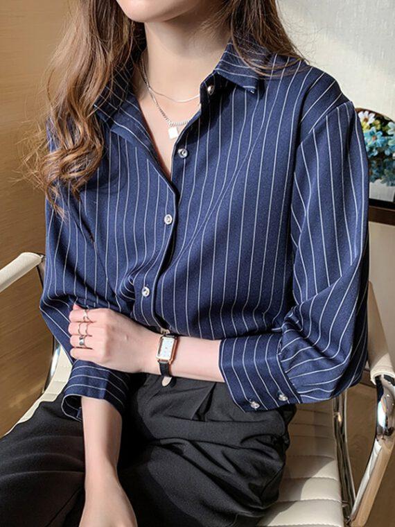 เสื้อชีฟองสวยๆ เสื้อชีฟองลายทาง สีน้ำเงิน สีขาว เสื้อชีฟอง ใส่กับกางเกง ยีน ส์ เสื้อผู้หญิงใส่ทำงาน เสื้อเชิ้ตชีฟอง ผู้หญิง คอวี คอปก เท่ๆ