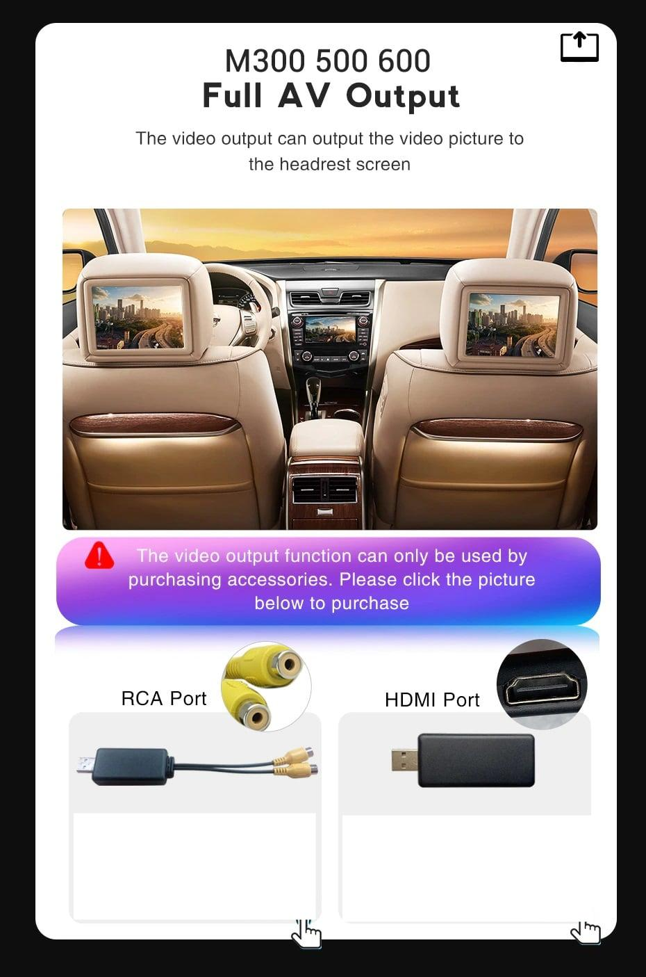 M300 M500 M600 Support Full AV Output the video to the headrest screen,also support the HDMI-compatible.but AV port and HDMI adapter need buy it alone.