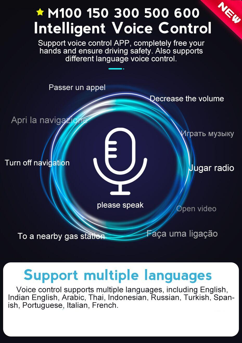 Ai Voice control,completely free your hands and ensure driving safety,also supports dfiiferent language voice control