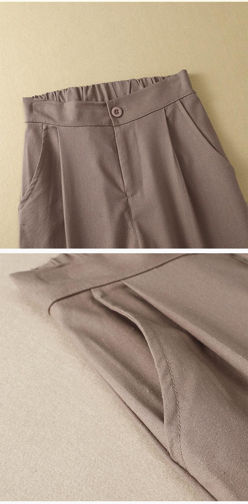 Women's 100%Pure Linen Cotton Pants Capri Vintage Casual Waisted Classic Harem Pants for Women Summer White Calf-length Trousers