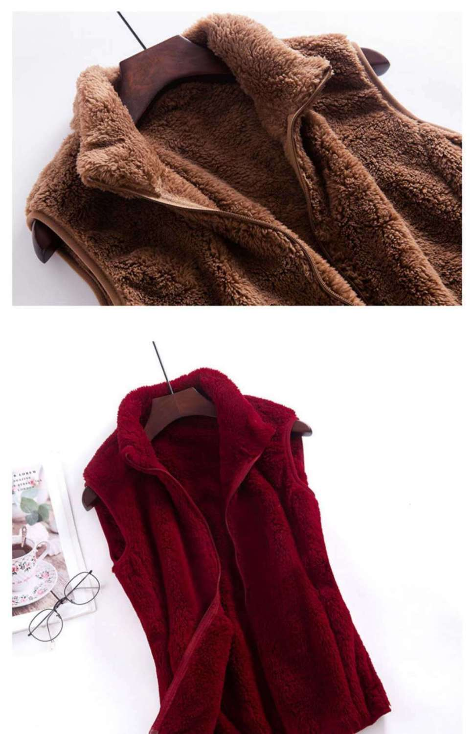 Woman Jacket Vest Double-Sided Coral Fleece Coat Vest for Women Chaleco Mujer