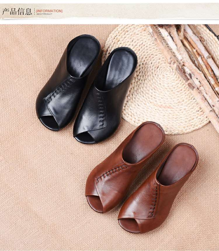 Thick-heeled Soft Leather Outer Slippers Fish Mouth Comfortable Versatile Mid-heeled Women Sandals Women's Mother's Shoes Women