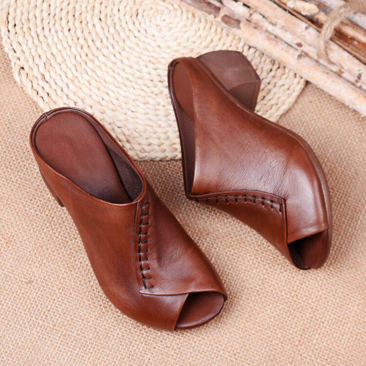 รองเท้าหนังผู้หญิง สวยๆ ราคาถูก เปิดหน้า เปิดหัว เปิดส้น หนัง วัว แท้ รองเท้าเปิดส้น รองเท้าเปิดหน้าส้นสูง รองเท้า ส้นสูง รองเท้าหนัง